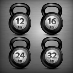 Four metallic kettle bells different weights on dark, vector