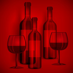 Bottles wine and glasses on red, vector illustration