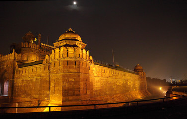 Massive wall and tower of Red Fort Delhi