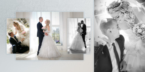 Collage - happy groom and the bride sit at a window
