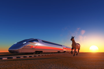 The locomotive and horse