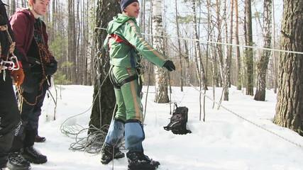 Climber checks equipment