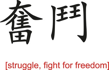 Chinese Sign for struggle, fight for freedom
