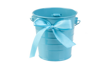 Blue bucket with bow