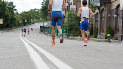 Competitors in a marathon or road race