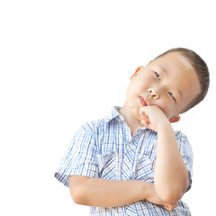 emotional Asian boy 6 years old, isolated on white background
