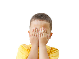 boy covers his face with his hands, isolated on white background