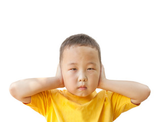 boy covers his ears with his hands, isolated on white background