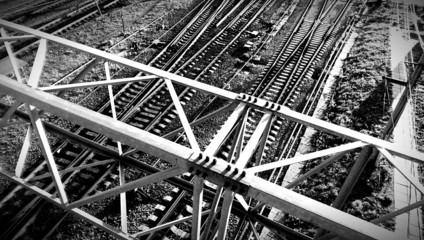 Black and white railway abstract fragment