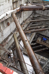 The construction of the tunnel in Moscow, the pit
