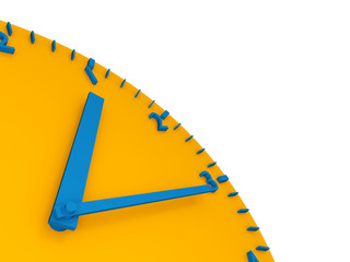 3d yellow  clock  with blue arrows