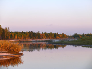The landscape of the Northern nature. Autumn forest on the river