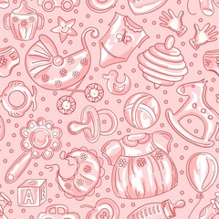 seamless pattern baby icons for girls
