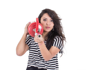 latin girl holding fire extinguisher
