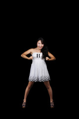 Young Asian American Woman White Dress Standing