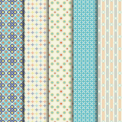 5 Different summer vector patterns. Colorful texture  for  fabri
