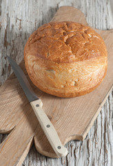 Homemade bread on the wooden board