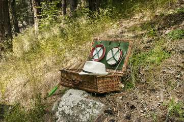 Vintage wicker picnic suitcase on mountain meadow background