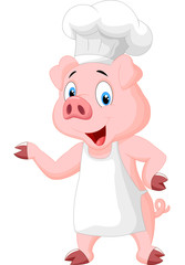 Pig chef cartoon presenting