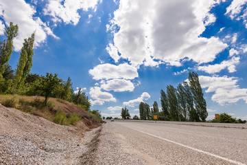 road  with cloudly sky in aegean region of Turkey