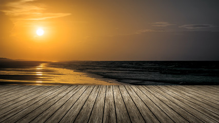 wooden jetty sunset