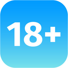 Restriction on age 18+ - blue and white icon