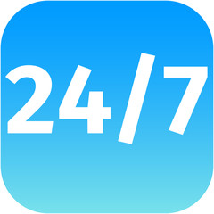 24/7 nonstop time blue icon