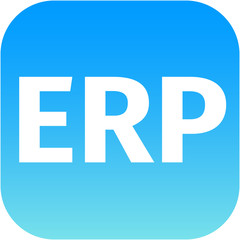 modern erp icon in blue