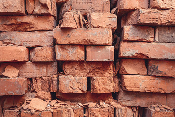 old bricks, cracked, collapsed, junk