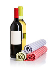 Bottle of red and white wine