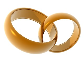 Wedding rings. Two gold rings on a light background.