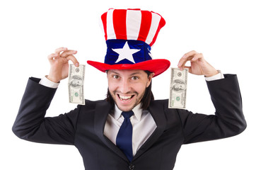 Man with american dollar and hat