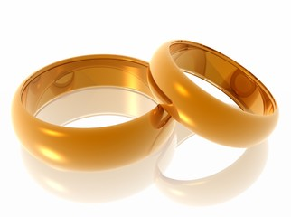 Wedding rings. 3d illustration.