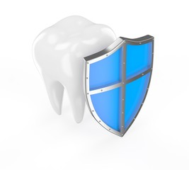 Tooth with metal shield on white background (Protection Concept)