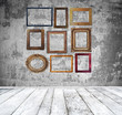Empty room with vintage frames