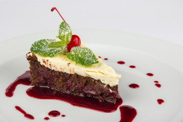 chocolate cake with mascarpone and cherry
