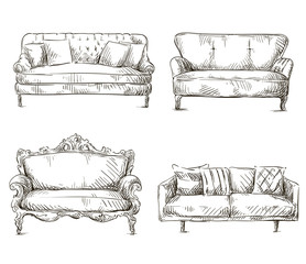 set of sofas drawings sketch style, vector illustration