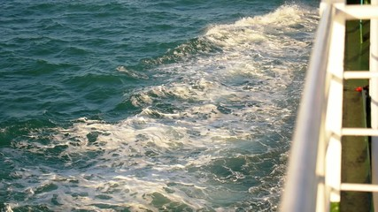 Wake Caused by Cruise Ship. Sea Foam Overboard. Slow Motion.