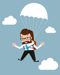 Lucky businessman is flying with parachute