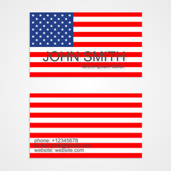 American Flag business card template. Vector illustration.