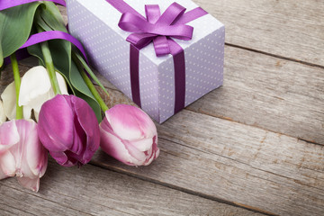 Fresh tulips with gift box