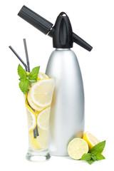 Glass with homemade lemonade and siphon