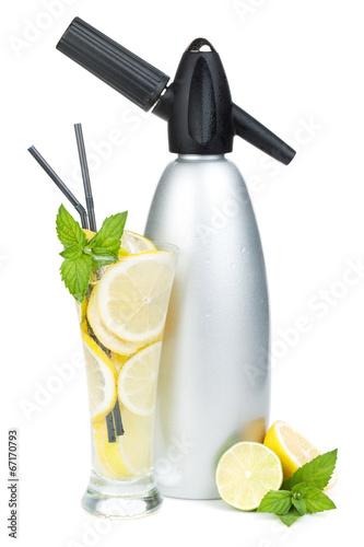 Glass with homemade lemonade and siphon - 67170793