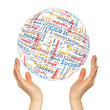 canvas print picture - Woman hands sphere with business words