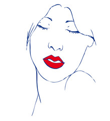 Beautiful young woman with closed eyes and red lips