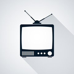 Retro TV set vector silhouette