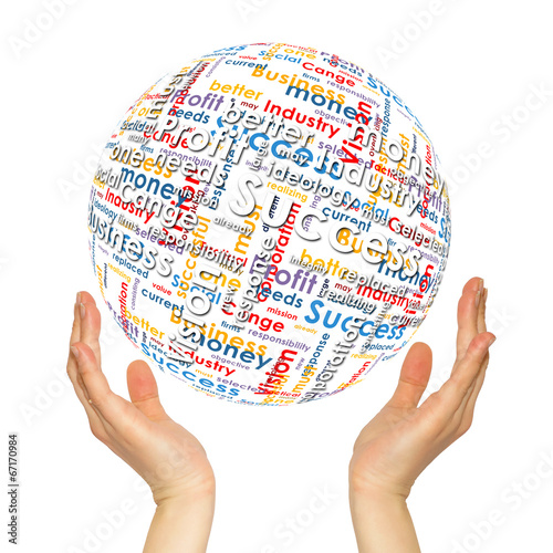 canvas print picture Woman hands sphere with business words
