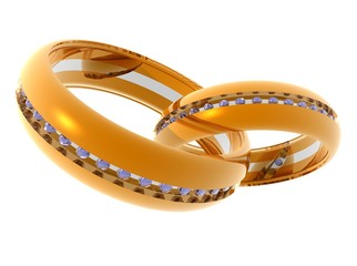 Two gold rings on a light background.