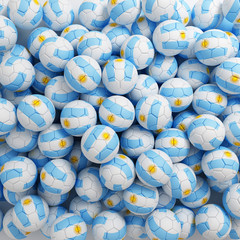 Argentina football balls. 3D render background