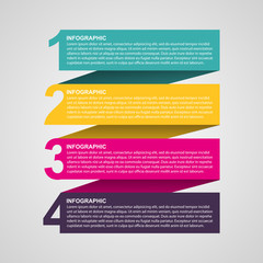 Creative colorful numbered infographic in the form of ribbons.